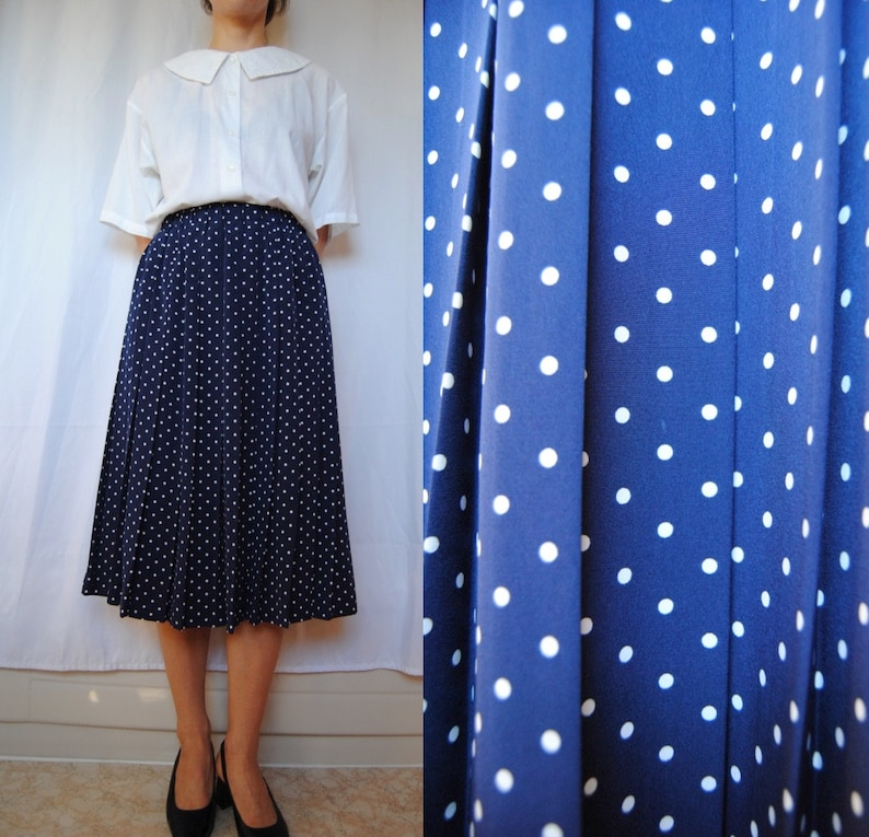 7ad3bde5e 80s polka dot skirt vintage accordion pleat skirt pleated | Etsy