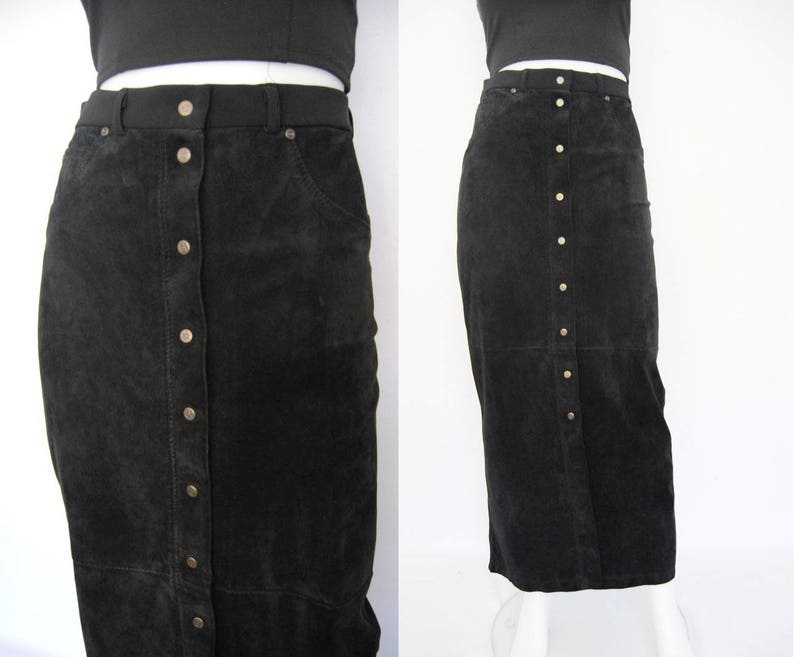 df6bdb1de68 90s two tone maxi skirt suede skirt with snaps vintage black