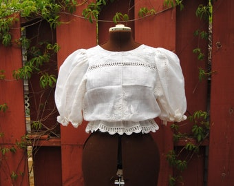 Linen voile blouse with white embroidered roses and eyelets — upcycled top made from a vintage tablecloth, puff sleeves, crochet lace, XL