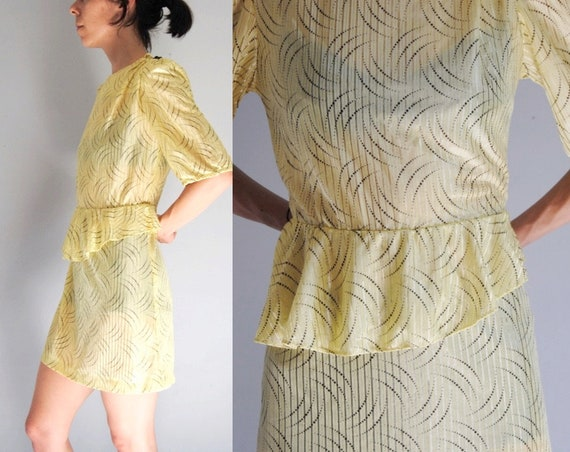 80s yellow secretary dress, vintage peplum dress … - image 1