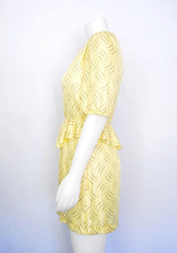 80s yellow secretary dress, vintage peplum dress … - image 8