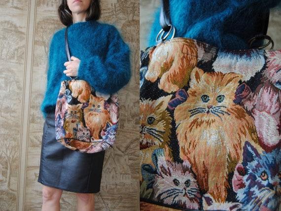 80s cat tapestry bag, vintage tapestry tote bag --