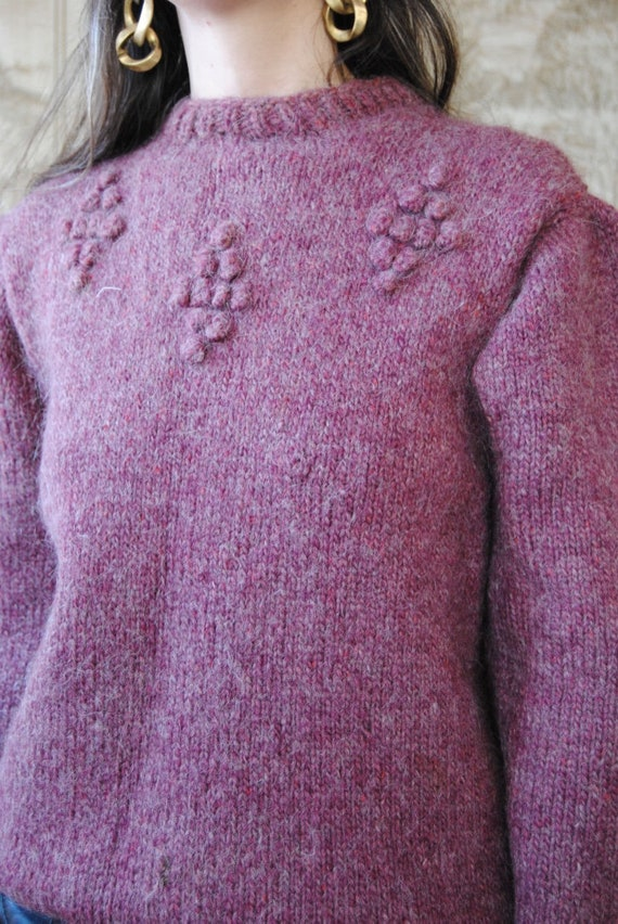 80s hand knit wool sweater with grapes and puffed… - image 4