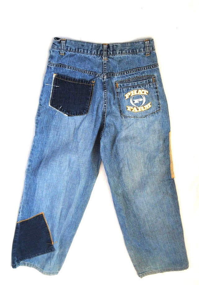 90s Phat Farm patched jeans vintage high waist jeans wide | Etsy