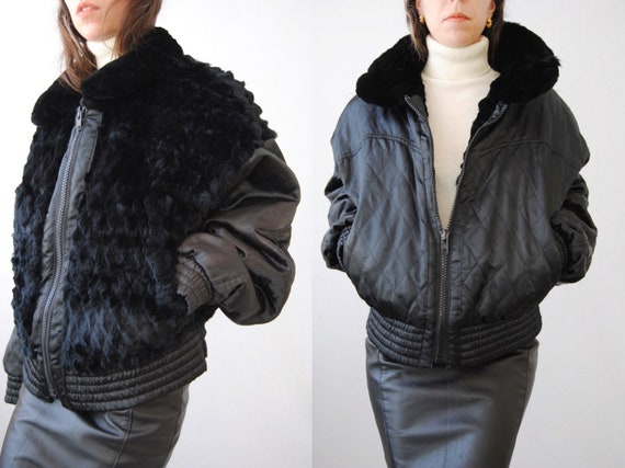 1980s fur and satin reversible bomber jacket, vint