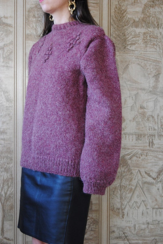 80s hand knit wool sweater with grapes and puffed… - image 6
