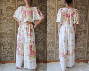 Upcycled linen matching set made from an antique tablecloth — reworked two piece outfit set, roses floral patterned set, linen pants, small