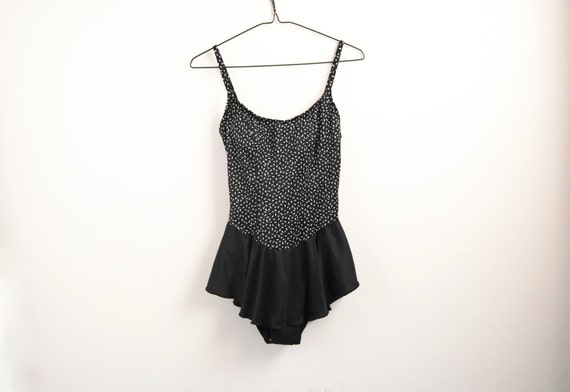 90s Bathing Suit With Skirt, Vintage Black And Whi