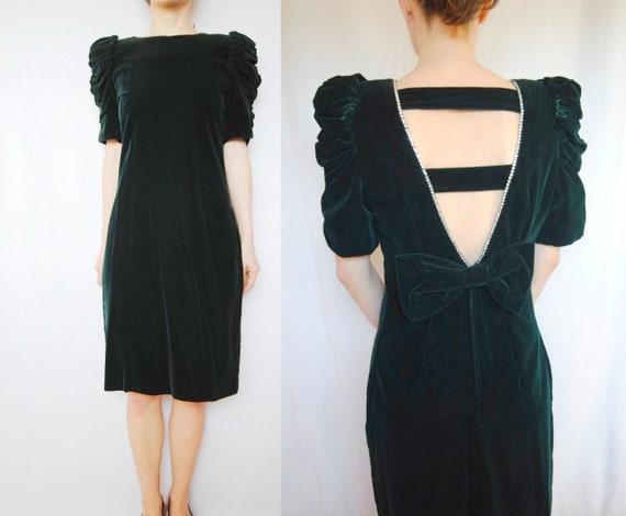 80s green velvet cocktail dress, puff sleeve dress