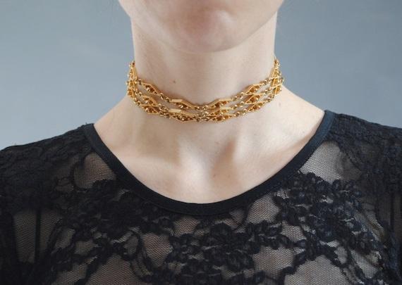 90s gold chain choker, vintage triple choker, thre