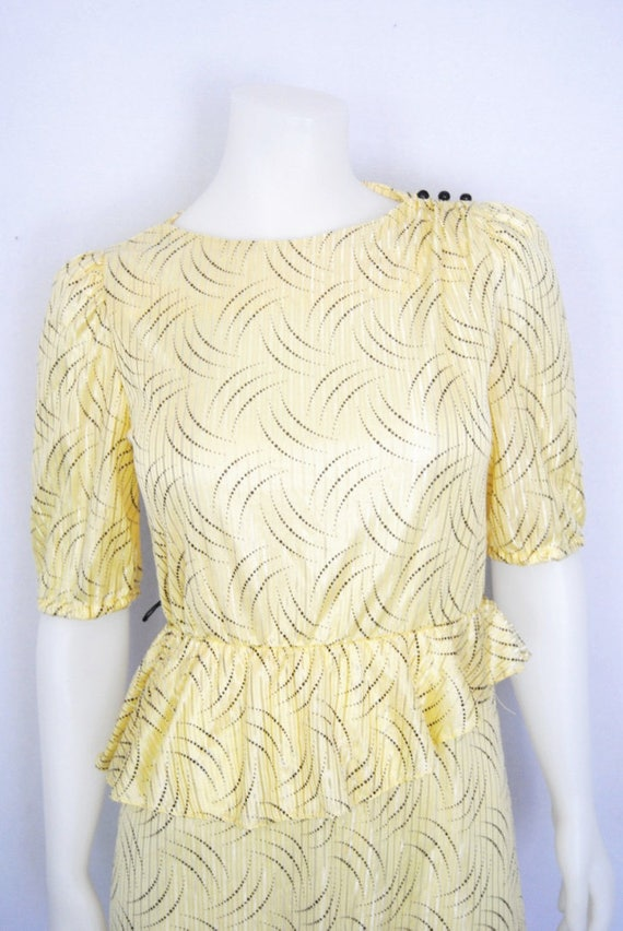 80s yellow secretary dress, vintage peplum dress … - image 7