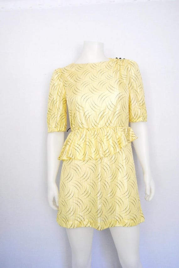 80s yellow secretary dress, vintage peplum dress … - image 6