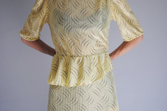 80s yellow secretary dress, vintage peplum dress … - image 5
