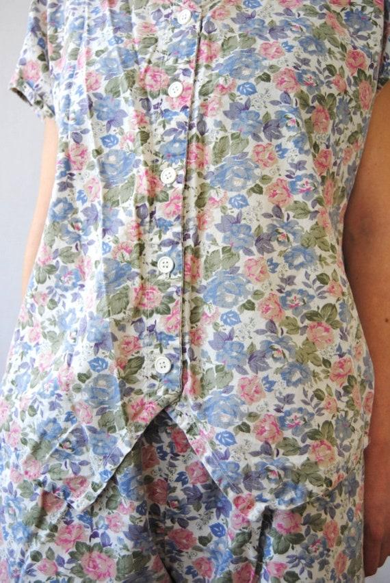 80s two piece floral set, vintage playsuit -- flo… - image 8