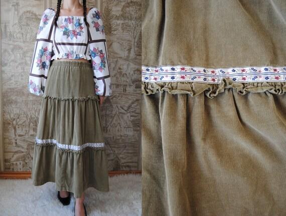 70s corduroy peasant skirt, vintage tiered maxi sk