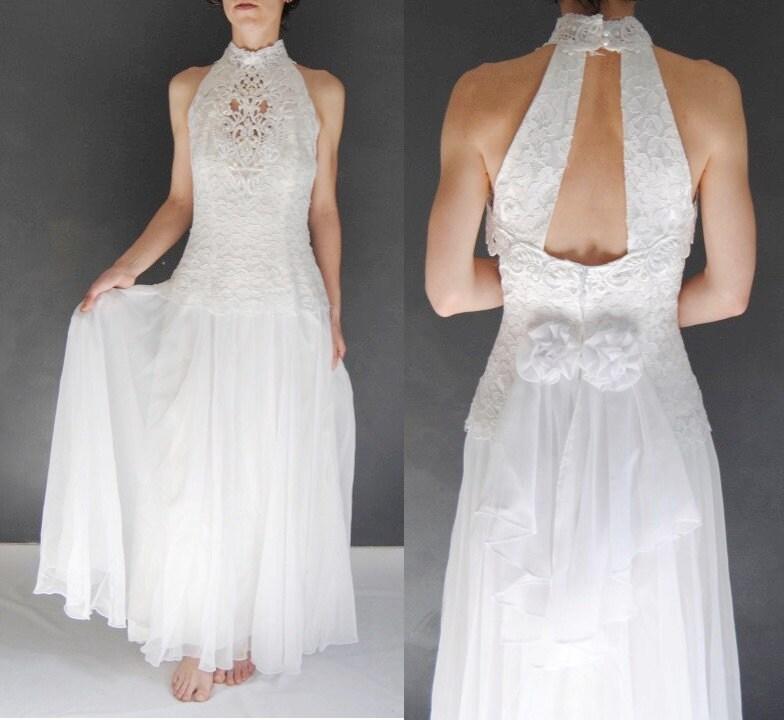 Vintage Wedding Dresses Canada: Vintage Boho Wedding Dress Lace Wedding Dress High Neck