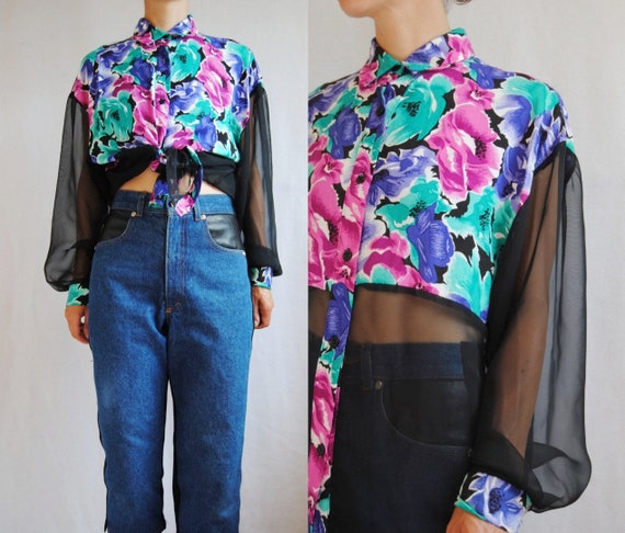 Bold Floral Shirt With Sheer Sleeves -- Vintage, S