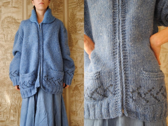 1950s hand knit wool cardigan with shawl collar an