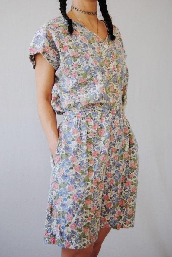 80s two piece floral set, vintage playsuit -- flo… - image 4