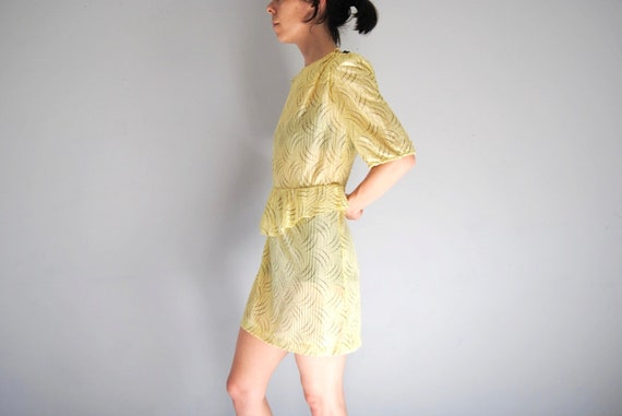 80s yellow secretary dress, vintage peplum dress … - image 3