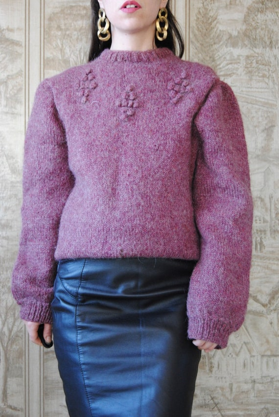 80s hand knit wool sweater with grapes and puffed… - image 2