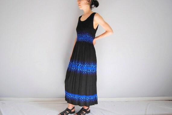 90s blue flame smocked sundress, vintage maxi dres
