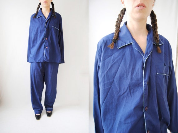 70s men's pyjamas, vintage cotton pyjamas -- pyjam