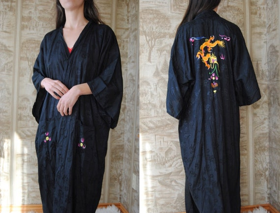 Black brocade kimono with embroidered chinese drag