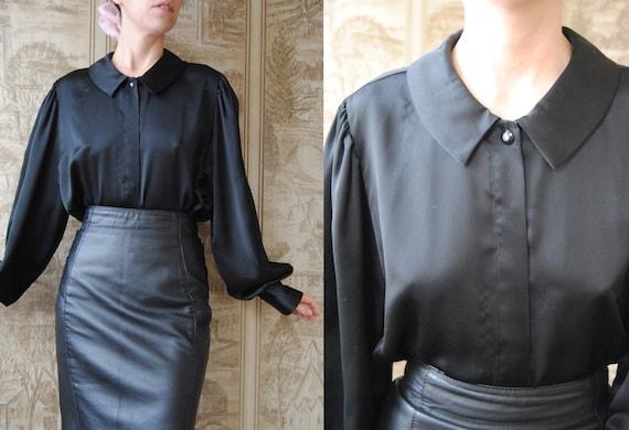 80s puritan collar blouse with bishop sleeves, vin