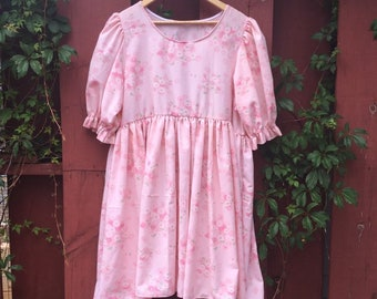 Puff sleeve babydoll dress made from a vintage bed sheet, reworked vintage dress -- retro pink floral daisies, doll dress, cute dress, plus