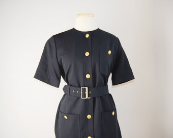 Vintage Aquascutum dress -- black wool dress, brass buttons, button up dress, vintage designer clothing, trench dress, 1980s 80s