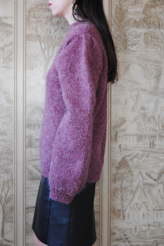 80s hand knit wool sweater with grapes and puffed… - image 7