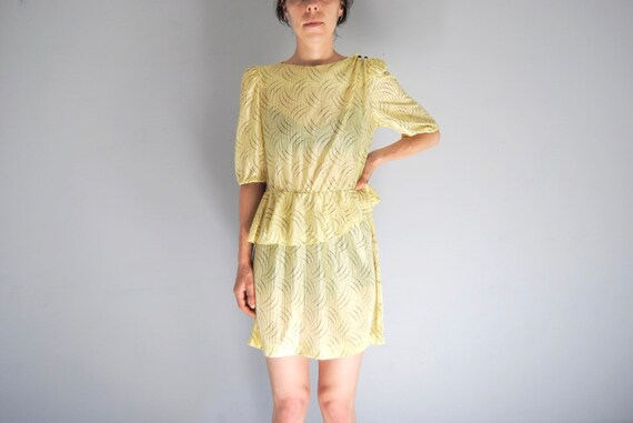 80s yellow secretary dress, vintage peplum dress … - image 2