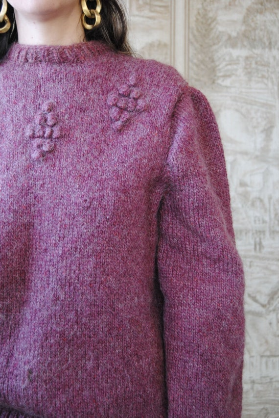 80s hand knit wool sweater with grapes and puffed… - image 5