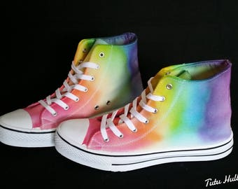 1f77c90ecb4a31 LGBT Pride Hightops - Rainbow Dyed Shoes - Tie Dyed Plimsolls - LGBT  Plimsoles