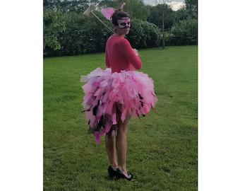 Pink Flamingo Tutu - Adult Feather Tutu - Hen Party Tutu - Puffy Adult Tutu with Feathers - Huge Bright Feathered Tutu Skirt