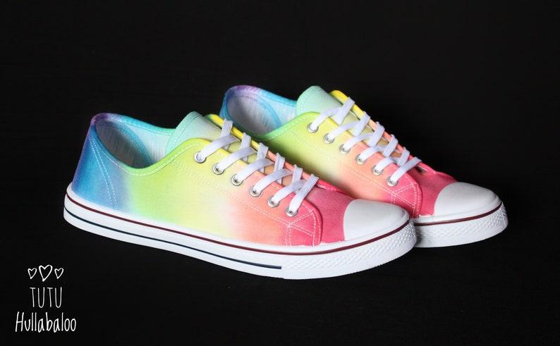 d200520ab6249 Tie Dye Shoes - Summer Canvas Plimsoll Shoes - Rainbow Bright Colours -  LGBT Shoes