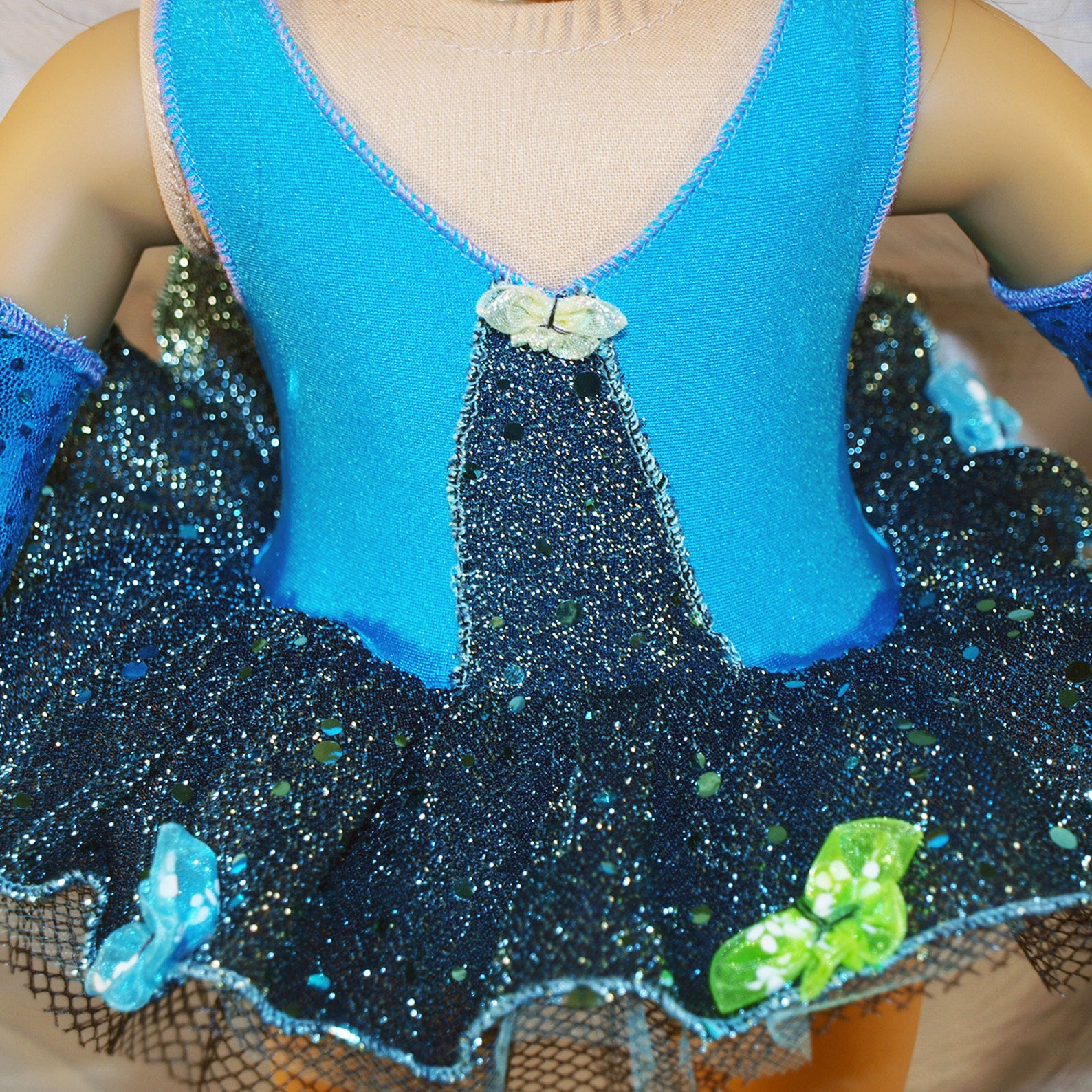 dance costume for ballet in blue and black sparkle full tutu with armbands and shoes, modeled on american girl doll