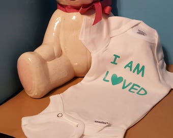 I Am Loved Onesie For Baby Shower Guest to Sign