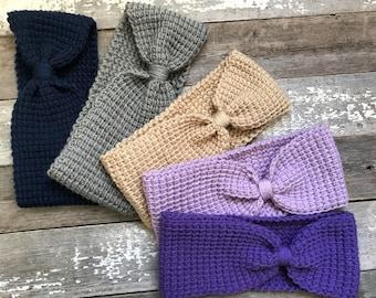 Crochet Bow Headband, bow headband, knit heaband, ear warmers, bow ear warmers, tunisian headband