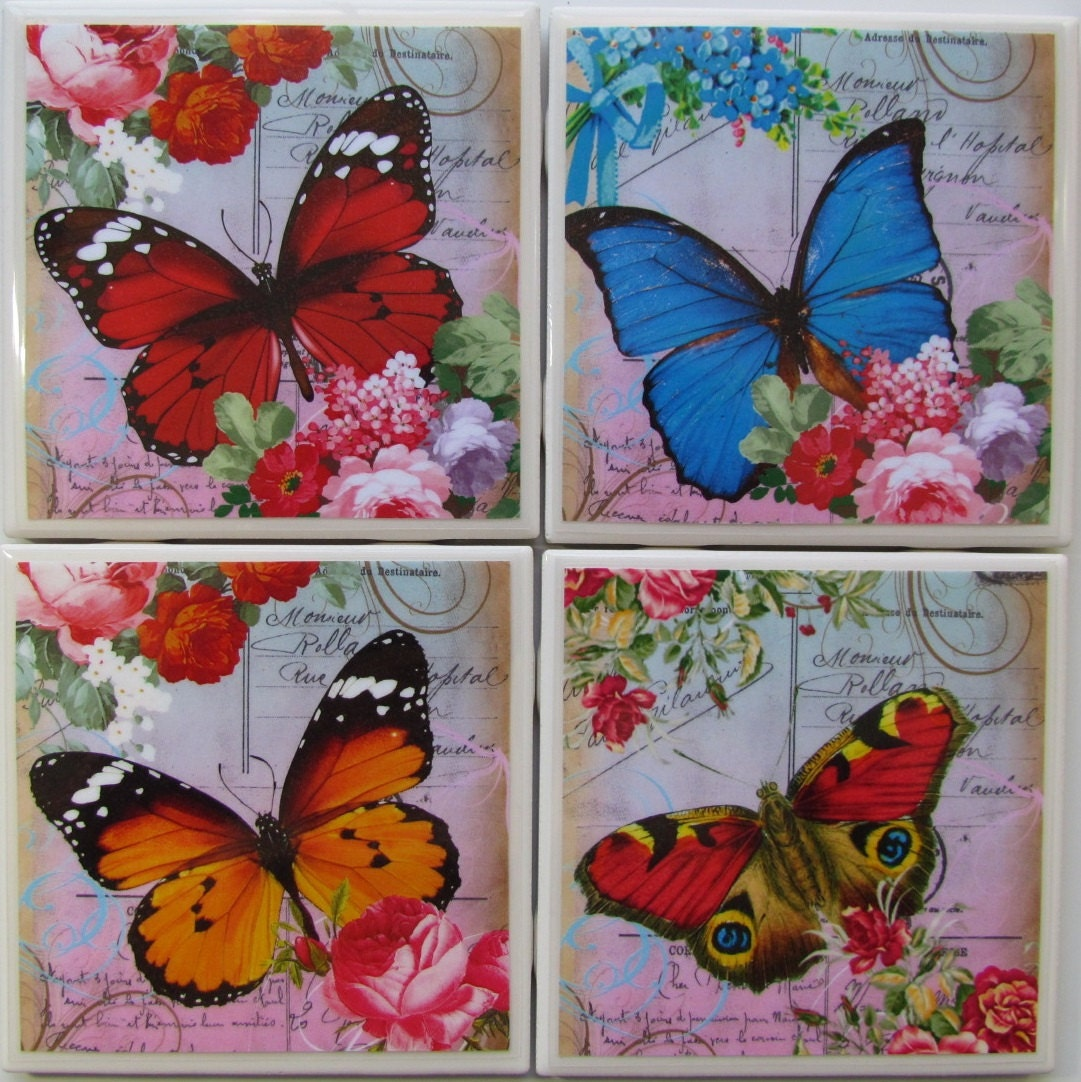Monogram Coaster Ceramic Coaster Hummingbirds Drink  Bar Coaster Personalized Ceramic Tile Coaster Set of 4 Stone Coaster