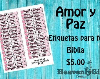 """Etiquetas para Biblia """"Amor y Paz"""""""