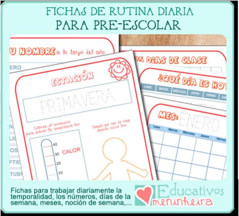 Fichas de rutina diaria para prescolar español image 0