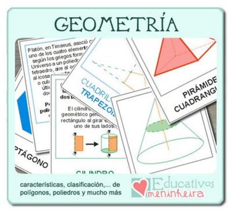 Tarjetas estilo Montessori de GEOMETRÍA  español  image 0