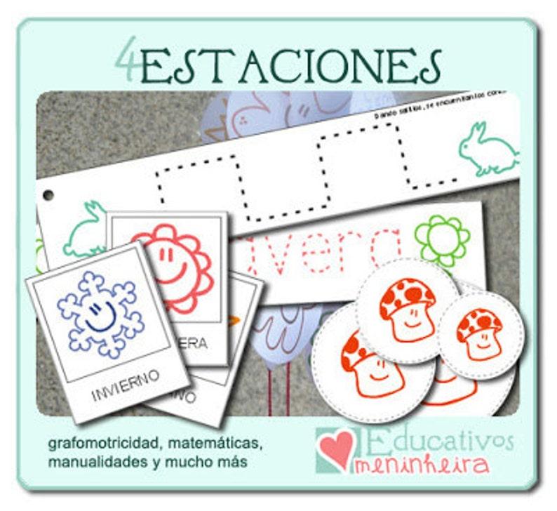 Imprimible educativo de las 4 Estaciones español image 0
