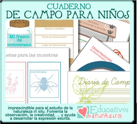 Cuaderno de campo imprimible para niños español | Etsy