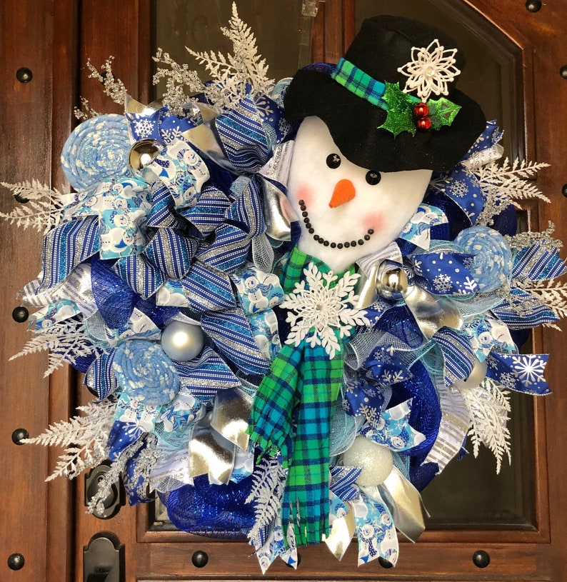 On Salechristmas Snowman Mesh Wreathfrosty Snowman Etsy