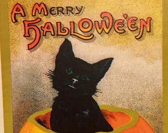 Greeting Card BLACK CAT in PUMPKIN Halloween Card and Envelope Jack O Lantern Victorian Samhain Salem