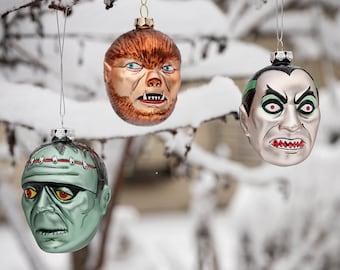 RETRO MONSTER ORNAMENTS Frankenstein, Werewolf, Dracula, Dr. Jekyll and Mr. Hyde, Halloween, Christmas, Horror, Samhain, Hand Blown Glass