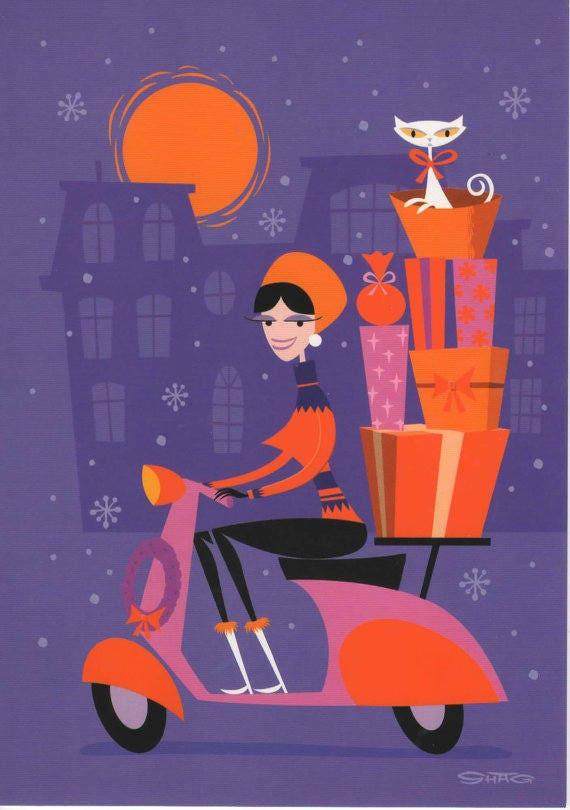 Картинках для, открытки скутер